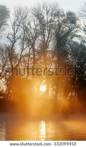 Delta of the Volga River at foggy sunrise, Russia - stock photo