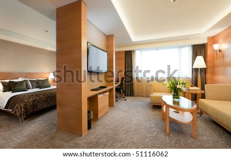 Deluxe hotel suite interior - stock photo