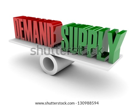 Demand and Supply opposition. Concept 3D illustration. - stock photo