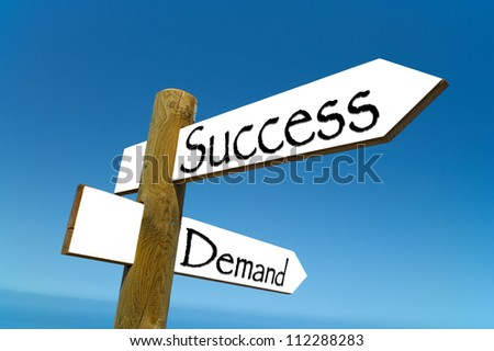 Demand Success Street Sign. This sign emphasizes the concept that a business should demand success, and that managers at all levels should demand success.