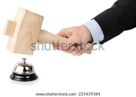 Demanding service by hitting bell with a hammer