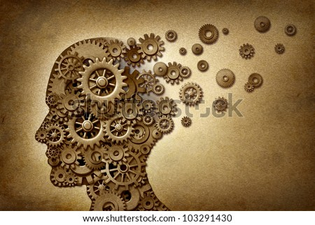 Dementia brain problem medical  and health care concept symbol on a grunge parchment texture as a vintage document with gears and cogs as icons of medicine and human intelligence. - stock photo