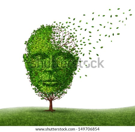 Dementia disease coping with Alzheimer's illness as a medical icon of a tree in the shape of a front view human head and brain losing leaves as aging challenges in intelligence and memory loss. - stock photo