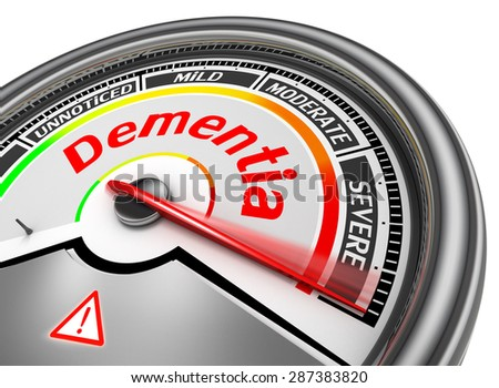 Dementia level conceptual meter indicate alarm, isolated on white background - stock photo