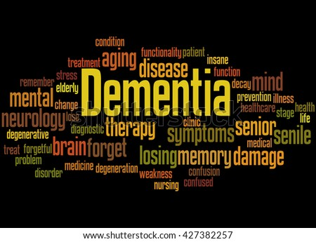Dementia, word cloud concept on black background.