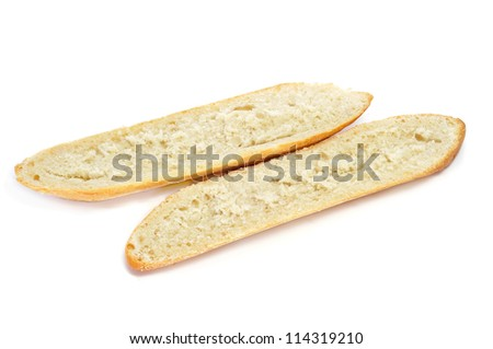 demi-baguette cut in half on a white background - stock photo