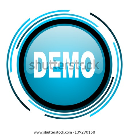 demo blue circle glossy icon  - stock photo
