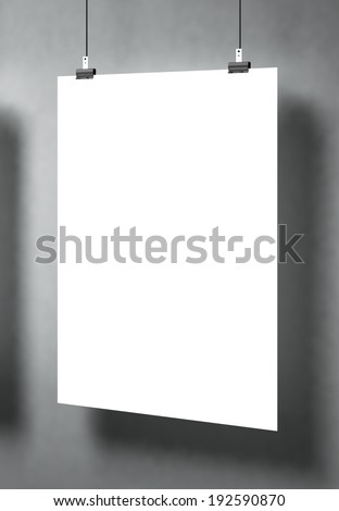Demo of white blank poster on a gray surface. Template for advertising or other images. 3d illustration - stock photo