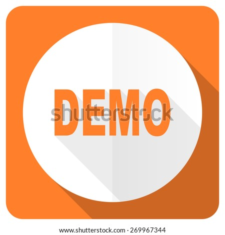 demo orange flat icon   - stock photo