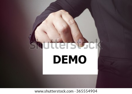 DEMO paper on the card , business concept , business idea