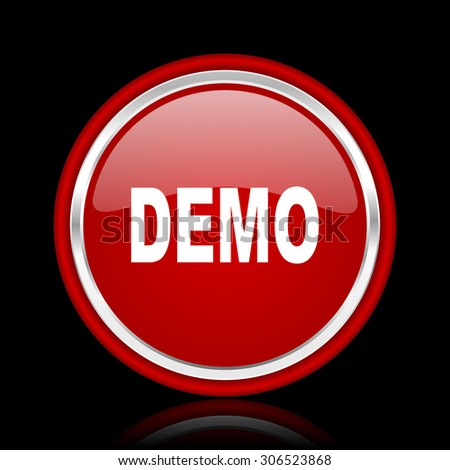 demo red glossy web icon chrome design on black background with reflection   - stock photo