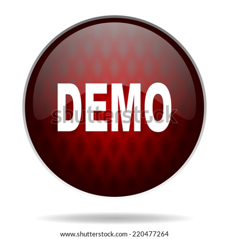 demo red glossy web icon on white background  - stock photo