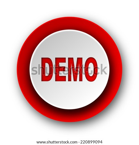 demo red modern web icon on white background  - stock photo