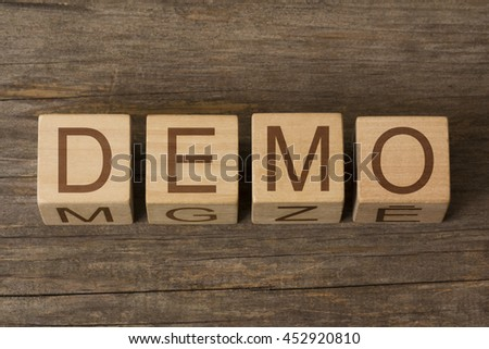 DEMO word on wooden cubes - stock photo