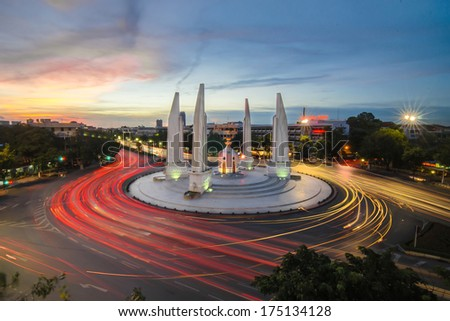 Democracy monument at night in Bangkok - stock photo