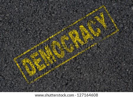 Democracy stamp background - stock photo