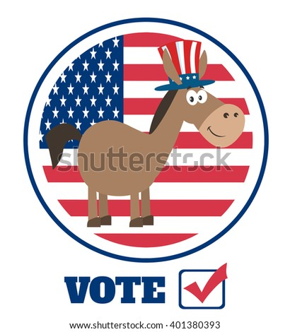 Democrat Donkey Cartoon Character With Uncle Sam Hat Over USA Flag Label With Text Vote. Raster Illustration Flat Design Style Isolated On White
