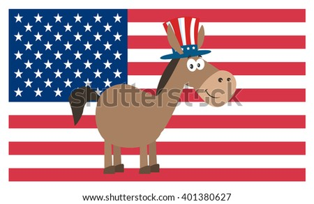 Democrat Donkey Cartoon Character With Uncle Sam Hat Over USA Flag. Raster Illustration Flat Design Style Isolated On White