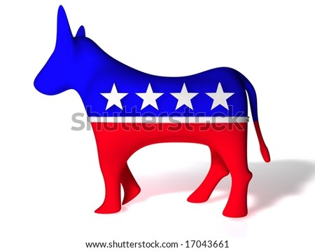 Democrat Donkey on infinite white background - stock photo