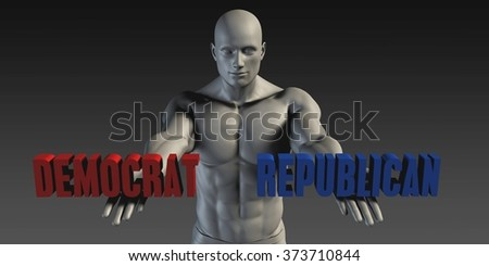 Democrat or Republican as a Versus Choice of Different Belief - stock photo
