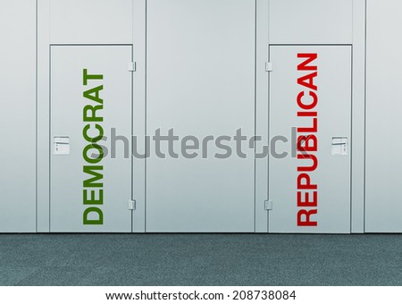 Democrat or Republican, concept of choice. Closed doors with printed marks as concept of decision making, options, strategy and dilemmas. - stock photo