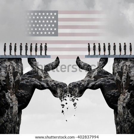 Democratic American election fight concept as two mountain cliffs shaped as a donkey symbol clashing head to head damaging the party as a USA political nomination symbol as a 3D illustration. - stock photo