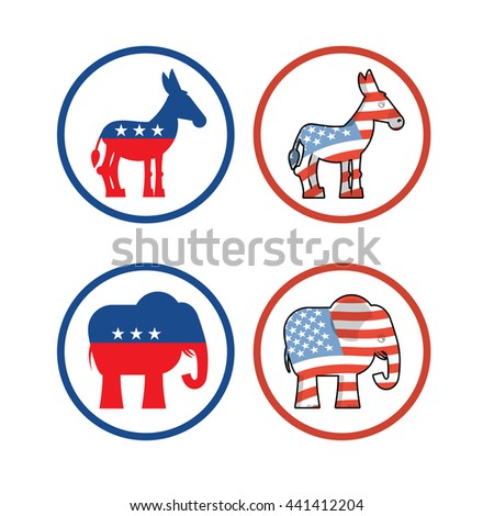 Democratic donkey and republican elephant symbols of political parties in America. USA elections. Opposition to American policy - stock photo