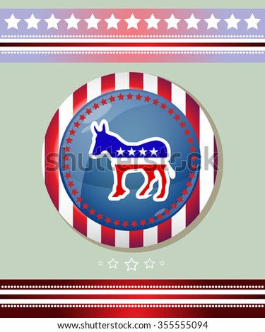 Democratic Party Social Promotion Banner. Donkey symbol Badge. Election Day Campaign Ad Flyer. American Flag's Symbolic Elements - Red Stripes and White Stars. Digital raster illustration. - stock photo