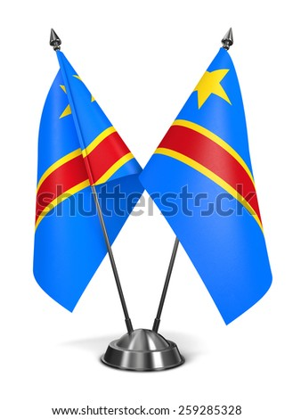 Democratic Republic Congo - Miniature Flags Isolated on White Background. - stock photo
