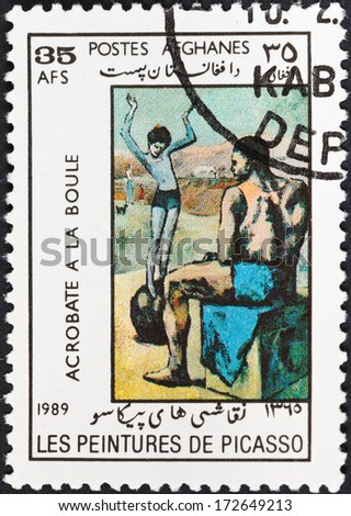 DEMOCRATIC REPUBLIC of AFGHANISTAN - CIRCA 1989: A postage stamp printed in the Afghanistan shows Girl on the Ball by Picasso, circa 1989