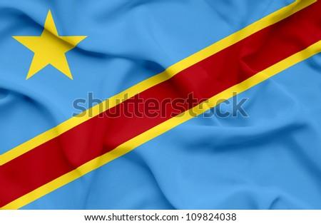 Democratic Republic of Congo waving flag - stock photo