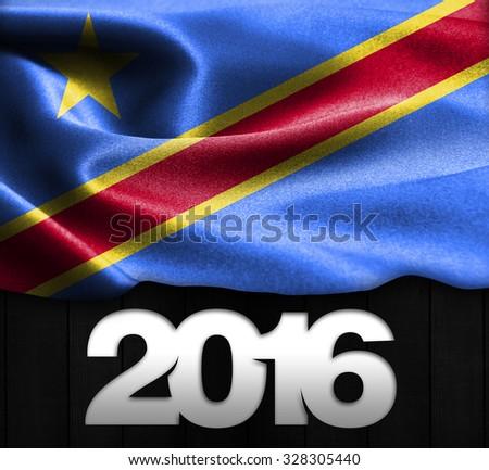 Democratic Republic of the Congo Flag & Happy New Year 2016 typography - stock photo