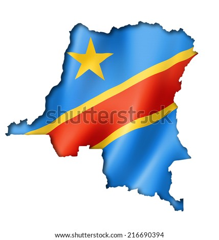 Democratic Republic of the Congo flag map, three dimensional render, isolated on white - stock photo