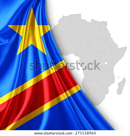 Democratic Republic of the Congo flag of silk with Africa map and white background - stock photo