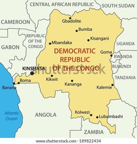 Democratic Republic of the Congo - map - stock photo