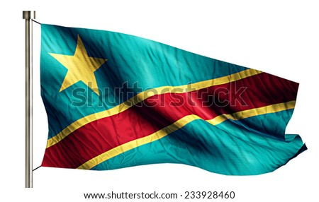 Democratic Republic of the Congo National Flag Isolated 3D White Background - stock photo