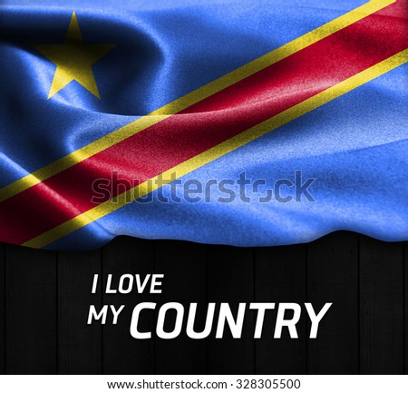 Democratic Republic of the Congo waving flag with Text I Love My Country on wood texture background - stock photo