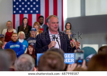 Democratic vice presidential nominee Tim Kaine speaks during a campaign rally in Newtown, PA, Wednesday, October 26, 2016.