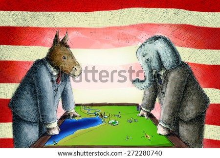 Democrats Donkey and republican elephant wearing suits face off versus each other over a map on a table - stock photo