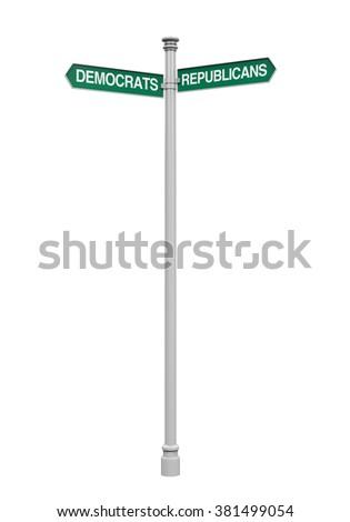 Democrats Republicans Direction Sign - stock photo