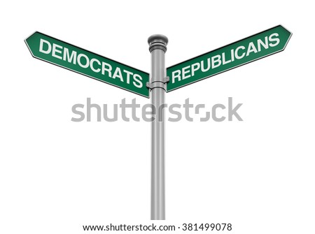 Democrats Republicans Direction Sign