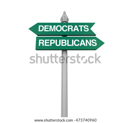 Democrats Republicans Direction Sign. 3D rendering
