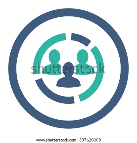 Demography diagram glyph icon. This rounded flat symbol is drawn with cobalt and cyan colors on a white background. - stock photo