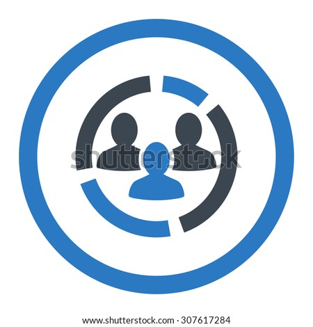 Demography diagram glyph icon. This rounded flat symbol is drawn with smooth blue colors on a white background. - stock photo