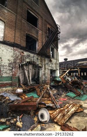 Demolished Brick Building - stock photo