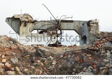 Demolished mill structure base at Old mill site, Burns / Hines Oregon - stock photo