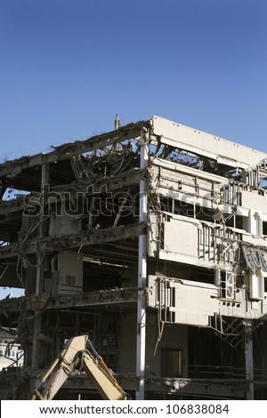 Demolishing a house, Stockholm, Sweden. - stock photo