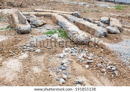 Demolition beams - stock photo