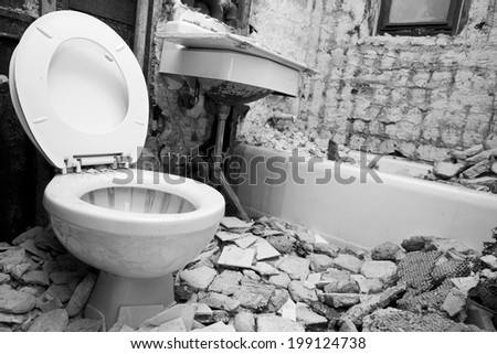Demolition for Bathroom for new construction,  black and white photo. - stock photo