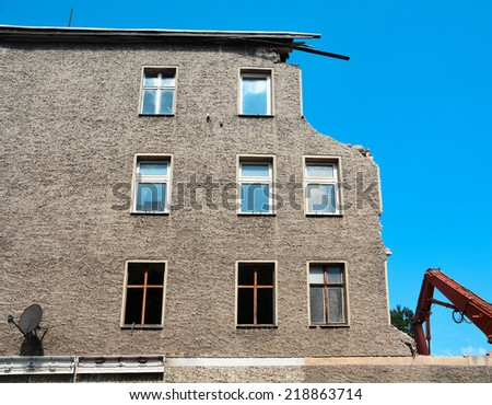 Demolition of a house - stock photo